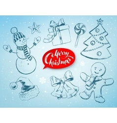 Christmas hand drawn line art set vector image