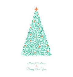 christmas tree circles xmas greeting card vector image