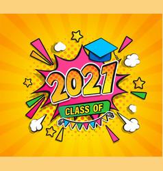 Class 2021 graduation banner vector