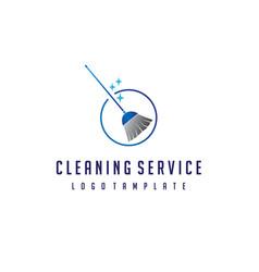 Cleaning broom logo design vector