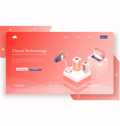 cloud data storage 3d isometric vector image