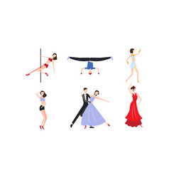 Collection of professional dancers dancing vector