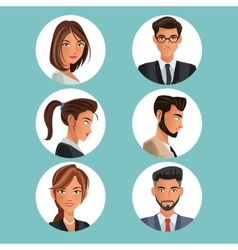 collection portraits men women workers office vector image