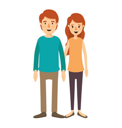 Colorful image caricature full body couple in vector
