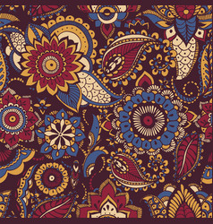 Colorful persian paisley seamless pattern with vector