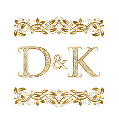 d and k vintage initials logo symbol the letters vector image