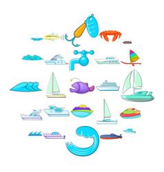 Dip icons set cartoon style vector