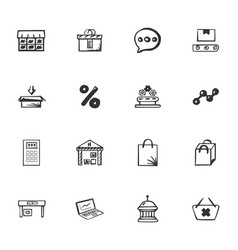 Doodle business icons set vector