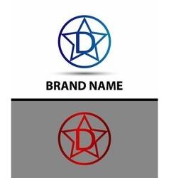 Elegant alphabet star element Letter d vector