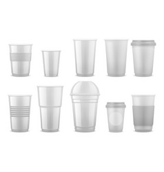 Empty clear white plastic disposable cups vector