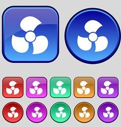 Fans propeller icon sign A set of twelve vintage vector image