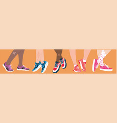 Five pairs feet wearing colorful sneakers vector