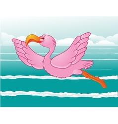 flamingo in flight vector image