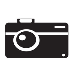 Flat black camera icon vector