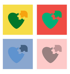 Flat icon design collection puzzle heart vector
