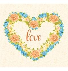 Floral frame in the shape of heart Design element vector image