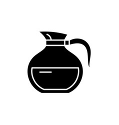 glass teapot black icon sign on isolated vector image