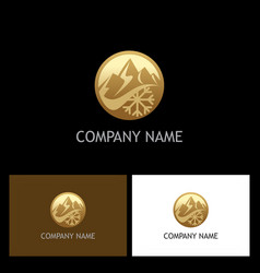 Gold mountain logo vector