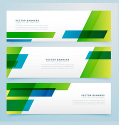 Green business style geometric banners set vector
