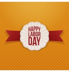 Happy Labor Day paper Banner with red Ribbon vector image