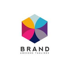 Hexagon color logo concept vector
