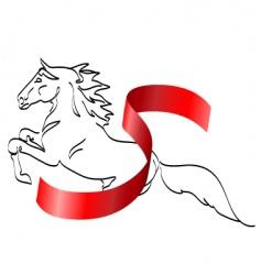 horse and ribbon vector image
