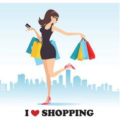 I love shopping vector