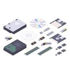 Isometric flat digital memory storages set vector