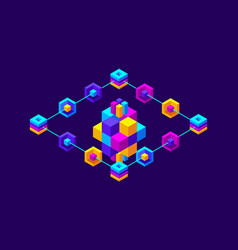 Isometry icon blockchain crypto currency network vector