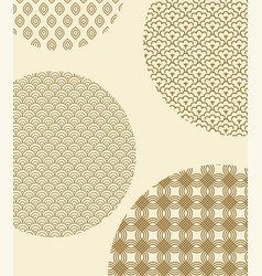 Japanese seamless patterns inside big circles vector