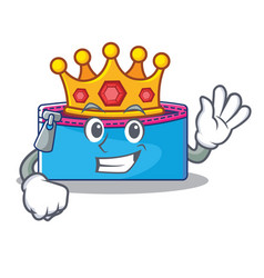 King pencil case character cartoon vector