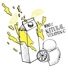 lemon juice sketch vector image