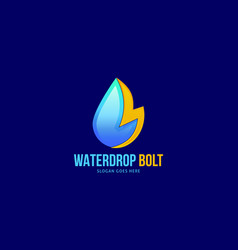 lightning and water drop logo template concept vector image