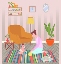 mother and daughter at home mom and ba vector image