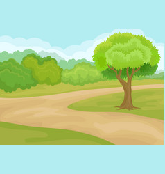 natural landscape with ground road bright green vector image