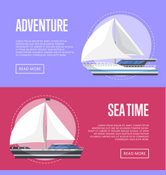 Nautical tourism flyers with sailboats vector