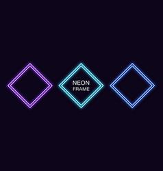 Neon rhomb frame set rhombus neon border with vector