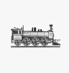 Old locomotive or train on railway retro vector