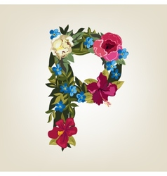 P letter Flower capital alphabet Colorful font vector image