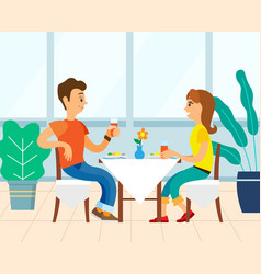 People couple eating in restaurant eatery or diner vector