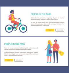 people in park girl riding bike couple walking vector image