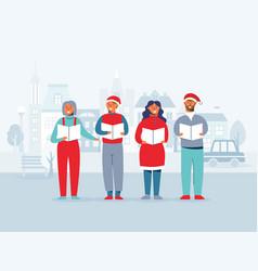 people in santa hats singing christmas carols vector image