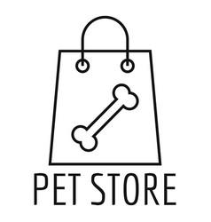 pet store shop bag logo outline style vector image