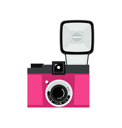 pink and black analog film camera icon flat vector image