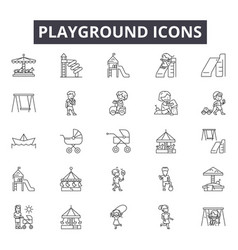 playground line icons signs set linear vector image