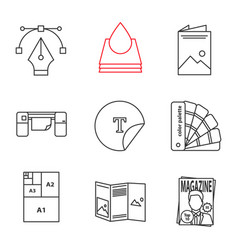 Printing linear icons set vector