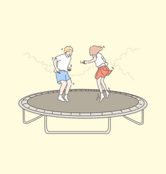 Recreation fun jumping children friendship vector