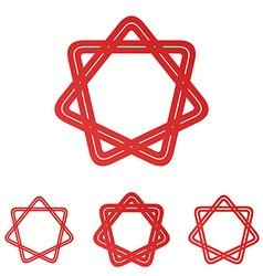 Red line loop star logo design set vector