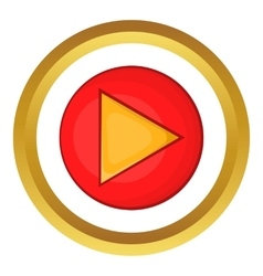 Red play button icon vector