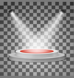 Round podium with a red carpet and a spotlight vector